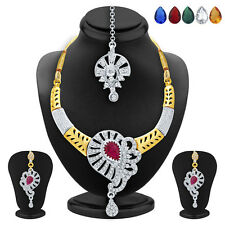 Sukkhi Artistically Gold & Rhodium Plated AD Necklace Set(2521NADP550)