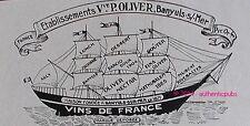 PUBLICITE VINS DE FRANCE OLIVER BANYULS SUR MER VOILIER DE 1929 FRENCH AD PUB