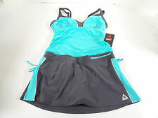 Gerry Womens 2 Piece Swim Skirt/ Tankini Set Blue Tide/Gray US Size M NWT