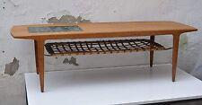 Couchtisch cfc Silkeborg Teak mit geflochtenem Leder-Tablar/Mosaik-Intarsie