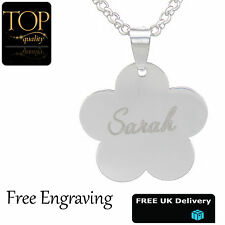 Flower Silver Pendant Charm Personalised Engraved Name Necklace Jewellery Gift