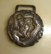 Antique Chinese Belt Buckle Sterling Silver Dragon Signed Qing Dynasty Qianlong
