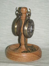 WOODEN DOUBLE POCKET WATCH STAND OAK WOOD HANGER DISPLAY WOOD HOLDER UNIQUE