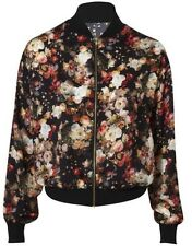 Asos Women's Lightweight Black & Floral Bomber Jacket Size 8 Worn Once