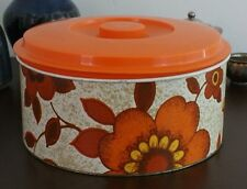 Retro Willow Cake Tin with Floral Pattern and Orange Lid