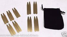 "US Brass Collar Stays 2 sizes 2"" and 2 1/2"" Lot of 18 pcs in Velvet Pouch E1730"