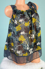 TWENTY ONE Multi color floral sheer summer sun day blouse top shirt Sz S