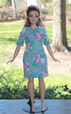 Clothes for Curvy Barbie Doll. Grey with flower print dress for Dolls.