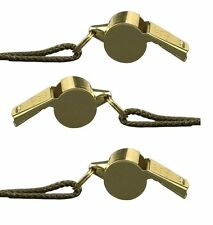 GI Style Nickel Plated Coach Whistle With Brass Finish & Lanyard - 3 Pack