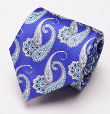 NWT $230 BRIONI Slim Satin Silk Tie Royal Purple-Turquoise Paisley Print