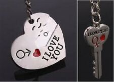 New Couple Romantic Heart Keychain Ring Keyring Car Key Chain I LOVE YOU Shape