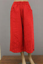PRISA EURO LINEN PULL UP POCKET CROPPED WIDE LEG PANTS RED Sz 1 US 14 $225 NWT