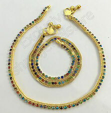 Designer Indian Stone Kundan Gold Tone Plated Party Bollywood Anklet Payal Set