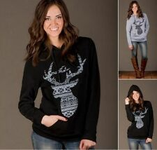 New Women Loose Hoodie Hooded Long Sleeve Deer Casual T Shirt Blouse Tops