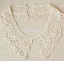 1Pair Cotton Lace Floral Collar Crochet Neckline Sewing Applique Trim Sewing DIY
