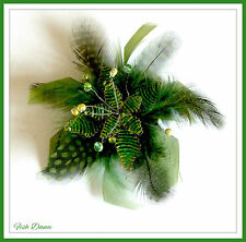 LADIES OR GIRLS GREEN HAIR CLIP, FASCINATOR OR BROOCH  BY BIG METAL OF LONDON.