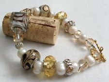 Beautiful Handmade Gold tone Pearl Beads & Rhinestone Bracelet
