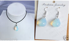 lady Opalite Opal water drip Crystal Quartz pendant earrings necklace 1set gift