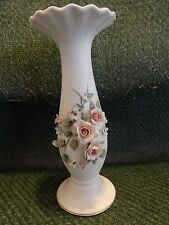 Lefton Hand Painted Bud Vase With Applied Flowers Ruffled top From Japan