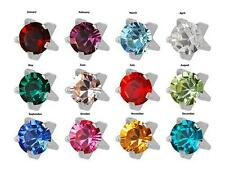 12 prs Birthstone Surgical Stainless Steel Prong RD3.0mm Piercing Stud Earrings