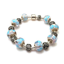 NEW Blue Foral Filigree Murano Beads Charm Silver Bracelet Not Pandora
