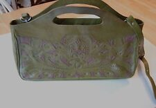 Leaders in Leather purse handbag, tooled leather, made in Paraguay, lightly used