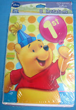 Disney Winnie the Pooh 1st Birthday Party Invitations 8 Cards & Envelopes