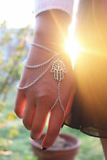 Amulet Hamsa Fatima Hand Slave Bracelet Charm Silver Chain Hand Harness Ring Hot