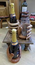 Hand Carved HAND Wood Wine Bottle Holder -Ideal Unique Wooden Gift FREEPOST