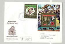 Central Africa 1982 Rotary, Wild Cats, Elephants on 3 Registered FDCs to USA