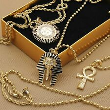 Men's 14k Gold Plated High Fashion Egyptian Bundle 6pcs 3 Pendants & 3 Chains