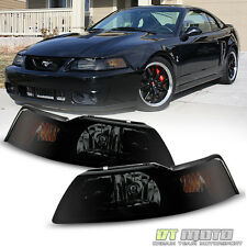 Black Smoked 1PC 1999-2004 Ford Mustang GT Headlights Headlamps Left+Right 99-04
