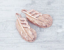 925 Sterling Silver Rose Gold Vermeil Style 2  Feather Charms