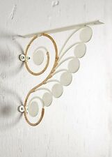 Anthropologie Fiddlehead White Metal & Rattan Bracket Set Of 2