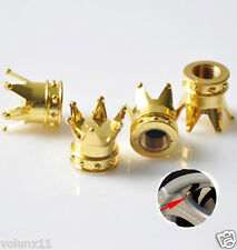 Gold Crown Car Wheel Air Tyre Valve Dust Caps Covers  Wheel Rim Set of 4