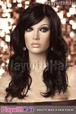 SO HOT! New Flowing Wavy Wig Skin Part Brown Black
