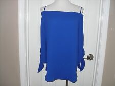New Chico's Off The Shoulder Tie Sleeve Top Blouse Blue Size 2=12/14 or L NWT