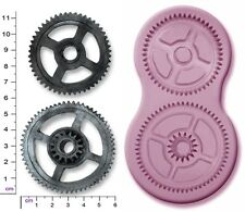 STEAM PUNK COGS & GEARS x 2 Large Craft Sugarcraft Sculpey Silicone Mould Mold