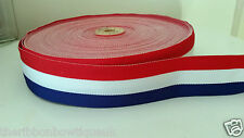 "1 yard - 38mm (1.5"") wide RED/WHITE/ROYAL BLUE WOVEN STRIPE DOUBLE SIDED RIBBON"