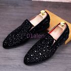 Mens Bling Bling Glitter Slip On Loafers Rhinestones Driving Evening Shoes Pumps