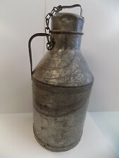 Rare Crystal Cream & Butter Co Galvanized Cone Top Milk Can with Lid
