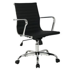 Modern PU Leather Ergonomic Mid Back Office Chair Executive Computer Desk New