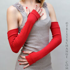 1009 Long Red Cotton Arm Warmers Winter Wrist Hand Elbow Length Finger Holes Diy