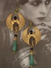 STUNNING EGYPTIAN REVIVAL ART DECO LONG DROP  EARRINGS   BRIDAL