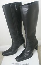 Charles David Black Knee HIgh Leather Boots Made in Italy $310 Size 8.5