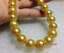 """AAAAA 20""""11-12mm Natural real round south sea golden yellow pearl necklace 14K"""