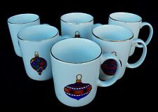 SET OF 6 GIBSON WEST CLIFF CHRISTMAS ORNAMENT COFFEE MUGS GOLD TRIM
