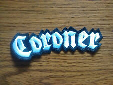 CORONER,SEW ON WHITE EMBROIDERED PATCH