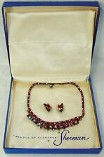 Vint. Sherman Red Aurora Borealis Rhinestone Necklace / Earrings + Original Box.