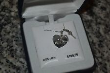 NWT - Sterling Silver .05 cttw - Genuine Diamond Heart Key LOVE Pendant Necklace